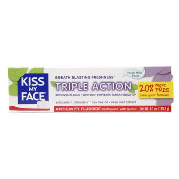 Kiss My Face Triple Action Anticavity Fluoride Natural Toothpaste with Xylitol, Fresh Mint, 4.1 oz