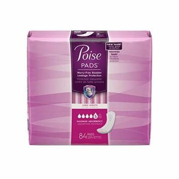 Poise Incontinence pads, Maximum Absorbency, Long, 42 Count (Pack of 2)