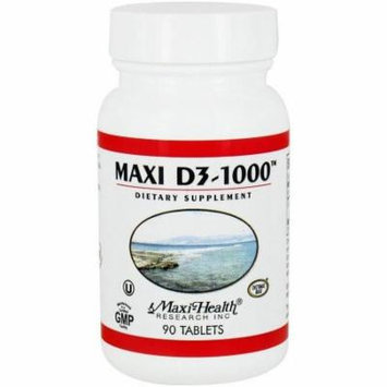 Maxi-Health Maxi D3-1000, Natural Vitamin D3, Kosher, 90 CT (Pack of 3)