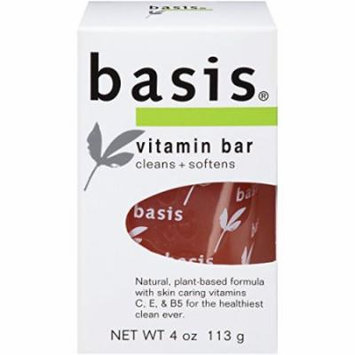 4 Pack - Basis Vitamin Bar Soap, Cleans + Softens 4oz Each