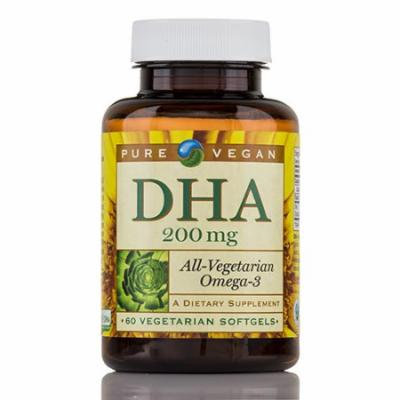 DHA 200 mg (Omega 3) - 60 Softgels by Pure Vegan