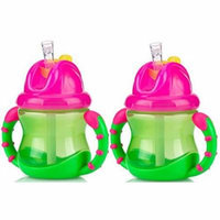 Nuby 2 Handle Flip n' Sip Straw Cup 8 Ounce, 12 Months Plus, Green with Pink,...