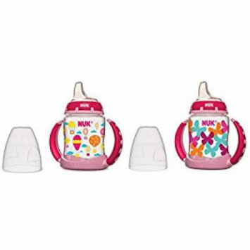 NUK 2 Count Pretty In Pink Leaner Cup, 5 oz, Hello Kitty/Butterfly