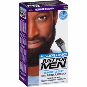Just For Men Mustache & Beard Hair Color Kit, M-47 Rich Dark Brown