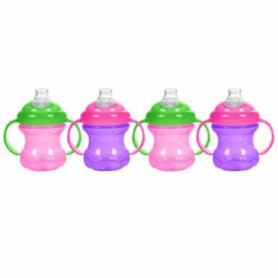 Nuby 8 oz No-Spill Cup with Super Spout - 4 Pack (Pink/Purple)