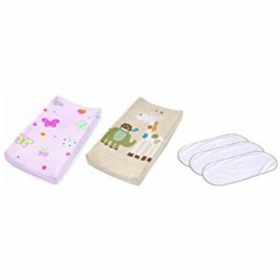 Summer Infant Plush Pals Changing Pad Covers with 3-Pack Waterproof Changing Pad Liners, Butterfly/Safari