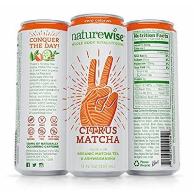 NatureWise Citrus Matcha Whole Body Vitality Drink with Organic Matcha Tea, Ashwagandha, Whole Food Vitamins, Amino Acids & Holy Basil, 12-pack