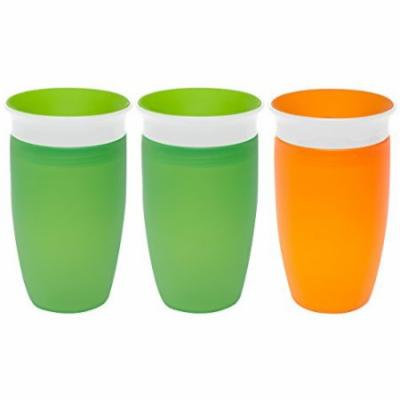 Munchkin Miracle 360 Degree 10 Ounce Spoutless Cup, 3 Pack, Green/Green/Orange