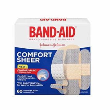6 Pack - BAND-AID Sheer Strips Assorted Adhesive Bandages 60 Each