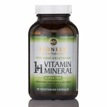 1+1 Vitamin Mineral Iron-Free - 60 Vegetarian Capsules by Pioneer