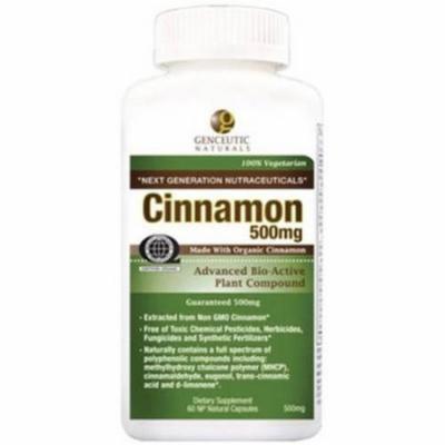 Genceutic Naturals Cinnamon 500mg, Organic, 60 CT