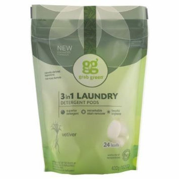 Grab Green Natural 3-in-1 Laundry Detergent Pods, Vetiver, 24 Loads, 3 Pack, 72 Pods Total!