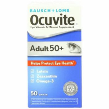 2 Pack Bausch + Lomb Ocuvite Adult 50+ Helps Protect Eye Health, 50 Soft Gels Ea