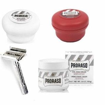 Proraso Shave Soap, Sensitive 150 ml + Proraso Shave Soap, Sandalwood 150 ml + Double Edge Razor + Proraso Pre Shaving Cream w/ Green Tea & Oatmeal 100 ml