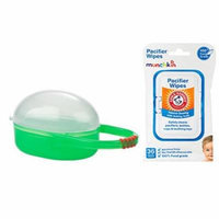 Nuby Paci Cradle Pacifier Box, Green with Pacifier Wipes