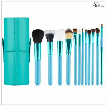 Professional Core Makeup Brush 12 Pcs Set Foundation Blending Blush Eyeliner Powder Brush Ocean Green,WMLS1818