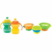 Munchkin Click Lock 7 Ounce Bite Proof Trainer Cup 2 Pack with Suction Bowls,...