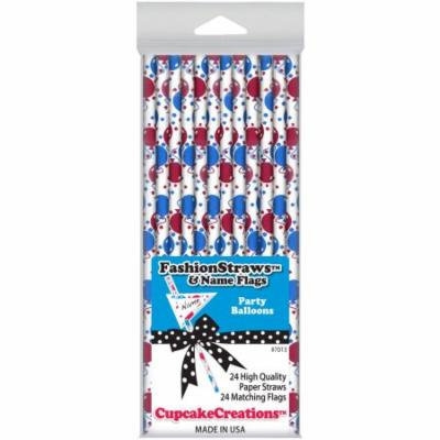 Cupcake Creations, Fashion Straws & Name Flags, Party Balloons, 24 Pk, 7013