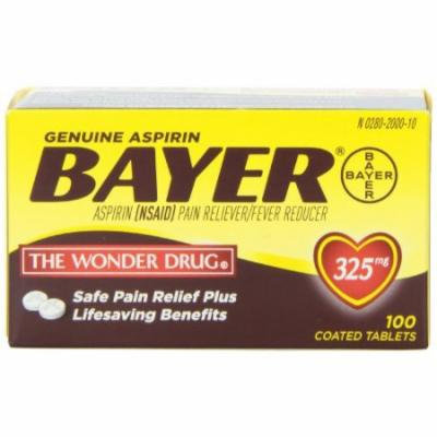 3 Pack - Genuine Bayer Aspirin Tablets With Easy Grip Cap 325mg 100 Tablets Each