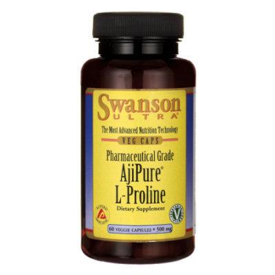 Swanson Ajipure L-Proline, Pharmaceutical Grade 500 mg 60 Veg Caps