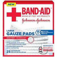 4 Pack - BAND-AID First Aid Large Gauze Pads, 4 in x 4 in, 25 Each