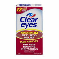 6 Pack Clear Eyes Maximum Redness Relief Eye Drops 1 oz Each