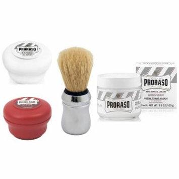 Proraso Shave Soap, Sensitive 150 ml + Proraso Shave Soap, Sandalwood 150 ml + Proraso Professonal Shaving Brush + Proraso Pre Shaving Cream w/ Green Tea & Oatmeal 100 ml