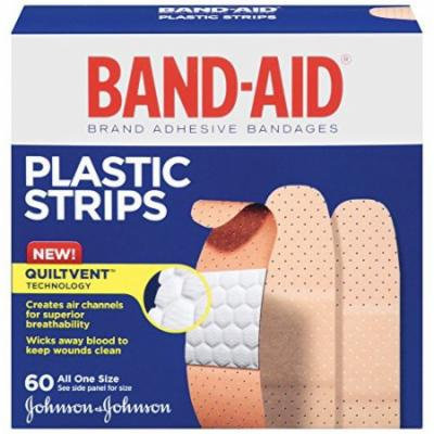 4 Pack Band-Aid Adhesive Bandages Plastic All One Size, 60 sterile Bandages Each
