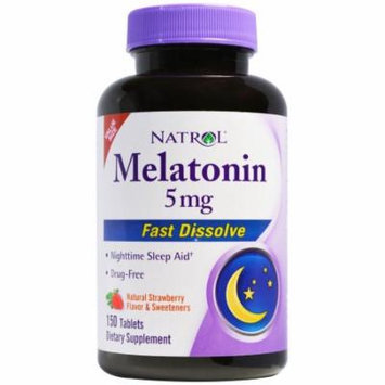 Natrol Melatonin Fast Dissolve Natural Strawberry Flavor - 5 Mg - 150 Tablets