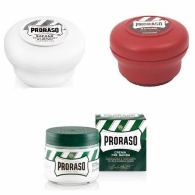 Proraso Shave Soap, Sensitive 150 ml + Proraso Shave Soap, Sandalwood 150 ml + Proraso Pre Shaving Cream w/ Menthol & Eucolyptus 100 ml