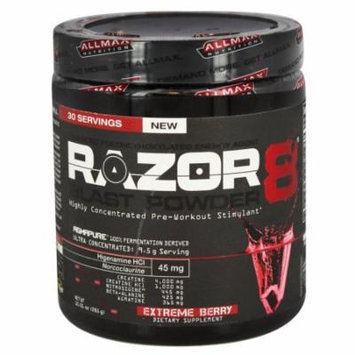 AllMax Nutrition - Razor8 Blast Powder Highly Concentrated Pre-Workout Stimulant Extreme Berry - 10.01 oz.