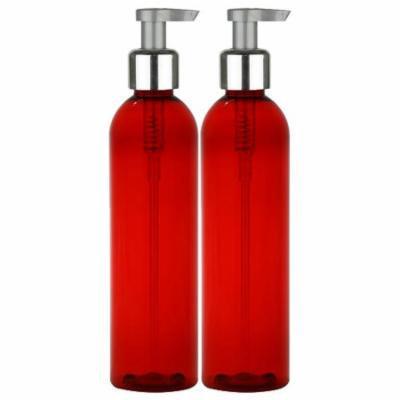 MoYo Natural Labs Elegant Silver Lotion Bottle Durable Pump 8 oz Large Hand Soap Dispenser Empty Bottle for Liquids BPA Free 8 oz 2 Pack