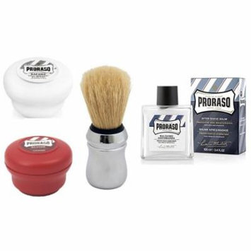 Proraso Shave Soap, Sensitive 150 ml + Proraso Shave Soap, Sandalwood 150 ml + Proraso Professonal Shaving Brush + Proraso After Shave Balm Protective, 3.4 Fluid Ounce
