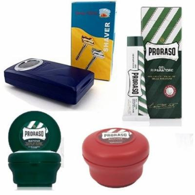 Proraso Shave Soap, Sandalwood 150 ml + Proraso Shaving Soap Menthol and Eucalyptus 4 Oz + Shaving Factory Double Edge Safety Razor, Silver + Proraso Styptic Gel 10ml