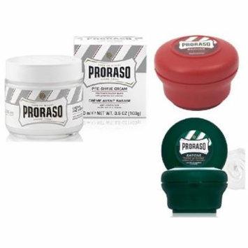 Proraso Shave Soap, Sandalwood 150 ml + Proraso Shaving Soap Menthol and Eucalyptus 4 Oz + Proraso Pre Shaving Cream w/ Green Tea & Oatmeal 100 ml