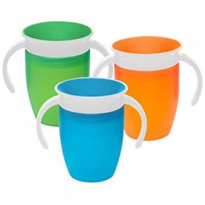 Munchkin Miracle 360 Degree 7 Ounce Spoutless Trainer Cup, 3 Pack, Green/Oran...