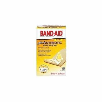 4 Pack - BAND-AID Plus Antibiotic Waterproof Bandages All One Size 15 Each