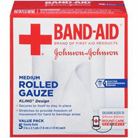 6 Pack - Band-Aid First Aid Covers Kling Medium Rolled Gauze 5 Count Each