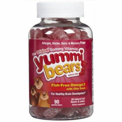 Yummi Bears Fish Free Omega 3 with Chia Seed, Healthy Brain Development, Gummies, 90 CT