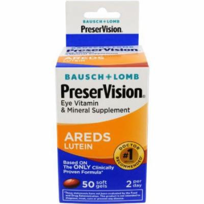 2 Pack - Bausch + Lomb PreserVision Eye Vitamin AREDS Lutein 50 Softgels Each
