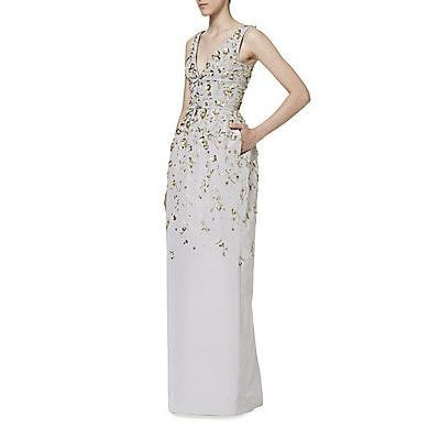 Carolina Herrera Embroidered Faille Gown - Silver