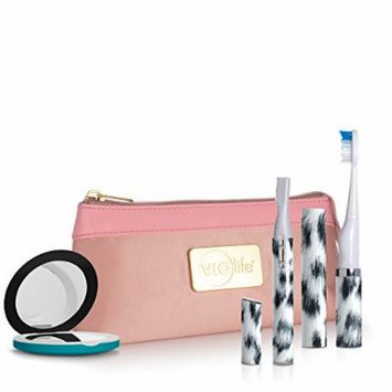 Violife Viossentials Magnifying Mirror Slim Sonic Toothbrush, Facial Hair Trimmer and Bag, White Leopard, 12.9 Ounce