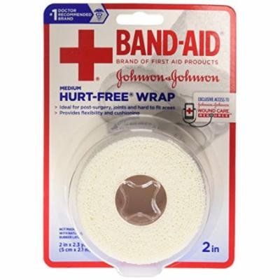 2 Pack - BAND-AID First Aid Hurt-Free Wrap, Medium 2 inch X 2.3 Yards Each