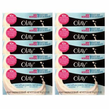Olay Unscented Sensitive Bar Soap, 3.17 oz, 1 Count, 10 Pack