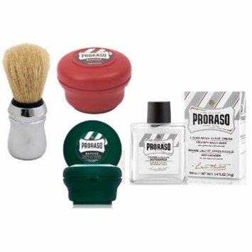 Proraso Shave Soap, Sandalwood 150 ml + Proraso Shaving Soap Menthol and Eucalyptus 4 Oz + Proraso Professonal Shaving Brush + Proraso Liquid After Shave Cream, 3.4 Ounce
