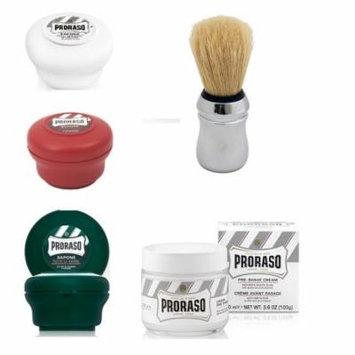 Proraso Shave Soap Sensitive 150ml + Proraso Shave Soap Sandalwood 150ml + Proraso Shaving Soap Menthol and Eucalyptus 4oz + Proraso Shaving Brush + Proraso Pre Shave w/ Green Tea & Oatmeal 100ml