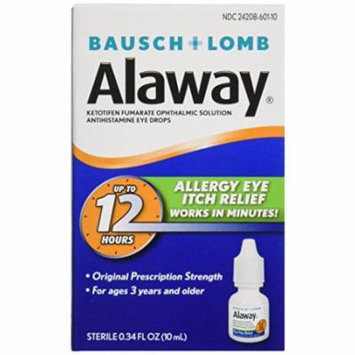 3 Pack Bausch + Lomb Alaway Allergy Eye Itch Relief Drops - 0.34 oz each