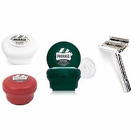 Proraso Shave Soap Sensitive 150ml + Proraso Shave Soap Sandalwood 150ml + Proraso Shaving Soap Menthol and Eucalyptus 4oz + Double Edge Razor