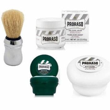 Proraso Shave Soap, Sandalwood 150 ml + Proraso Shaving Soap Menthol and Eucalyptus 4 Oz + Proraso Professonal Shaving Brush + Proraso Pre Shaving Cream w/ Green Tea & Oatmeal 100 ml