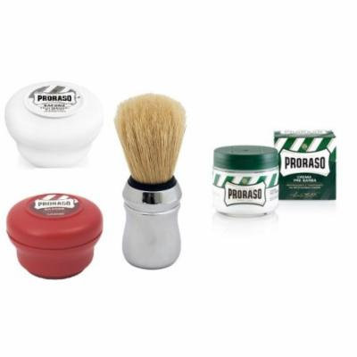 Proraso Shave Soap, Sensitive 150 ml + Proraso Shave Soap, Sandalwood 150 ml + Proraso Professonal Shaving Brush + Proraso Pre Shaving Cream w/ Menthol & Eucolyptus 100 ml